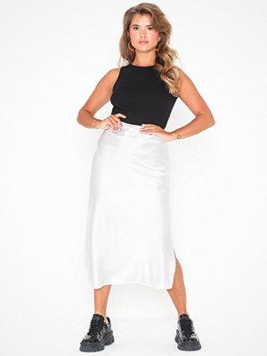 Topshop Split Side Satin Bias Midi Skirt