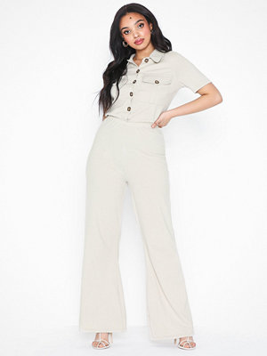 Missguided Pocket Rib Flare Leg Jumpsuit