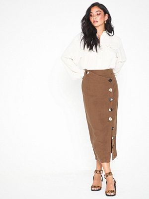 Topshop Brown Mixed Button Pencil Skirt