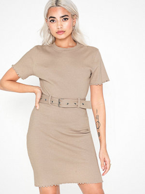 Missguided Ribbed Belted Mini Dress