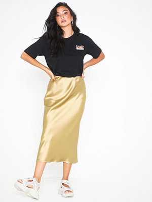 Topshop Split Side Satin Bias Midi Skirt