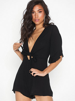 Missguided Tie Front Kimono Playsuit