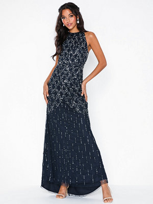 Maya Cage Embellishment Maxi Dress With Train Navy