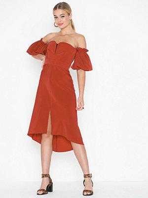 Topshop Bardot Dip Hem Midi Dress