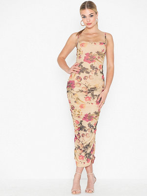 Missguided Floral Mesh Ruched Dress