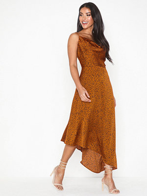 Missguided Spot Print Asymmetric Midi Dress