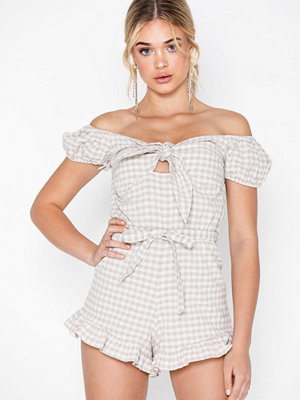 Topshop Gingham Bardot Playsuit