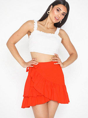Topshop Linen Rich Wrap Mini Skirt