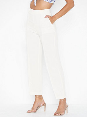 Topshop vita byxor Twill Slouch Trousers