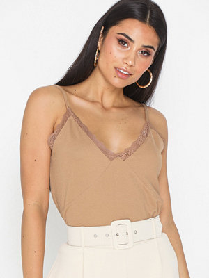NLY Trend Lace Trim Top Beige