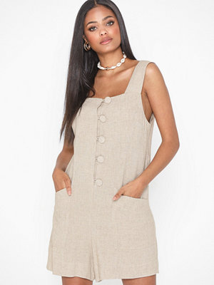 Topshop Natural Button Playsuit