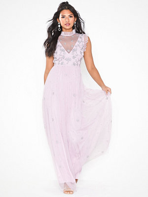 Maya Ruffel Neck Mesh Maxi Dress