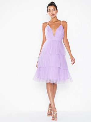 True Decadence Flounce Mesh Midi Dress