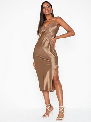 Topshop Bronze Lace Satin Slip Dress