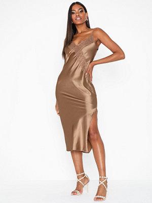 Topshop Bronze Lace Satin Slip Dress