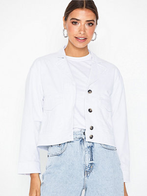 Selected Femme Slfcarry Cropped Denim White Jacket