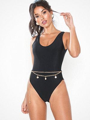 Missguided Chain Belt High Leg Swimsuit