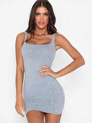Parisian Scoop Neck Rib Knit Mini Dress