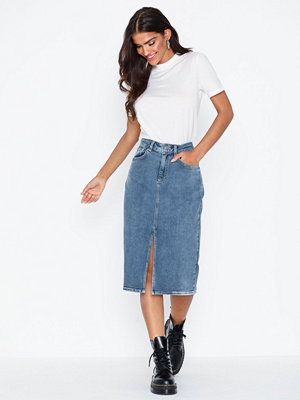Selected Femme Slflana Hw Hush Blue Denim Skirt Ex