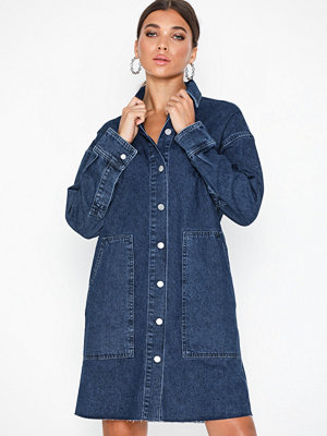 Selected Femme Slfhanna Ls Long Mid Blue Denim Shi