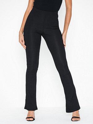 Topshop svarta byxor Ribbed Jersey Flare Trousers