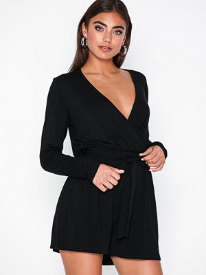 Jumpsuits & playsuits - NLY Trend Tie Up LS Playsuit Svart