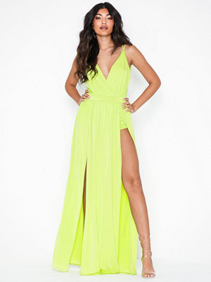 NLY One Double Slit Maxi Dress Lime