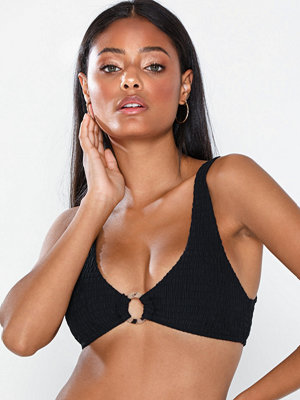 Topshop Black Shirred Ring Crop Bikini Top
