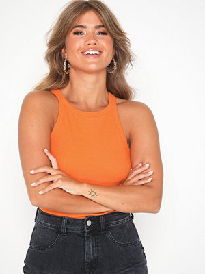 NLY Trend High Neck Rib Top Orange