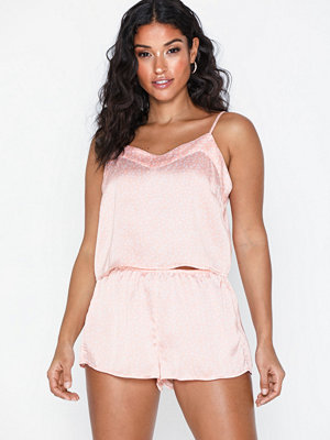 Topshop Blush Heart Print Satin Pyjama Set