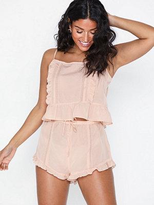 Topshop Peach Frill Lace Pyjama Set