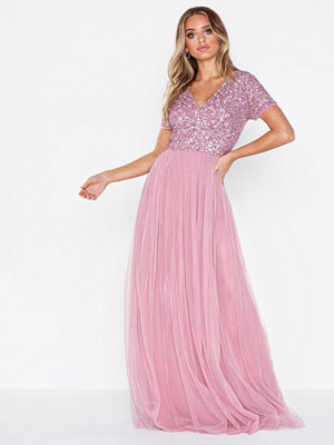 Maya Delicate Sequin V Neck Maxi Dress