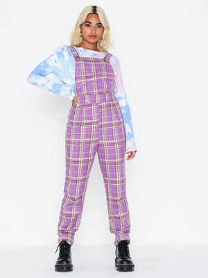 Jumpsuits & playsuits - Missguided Check Purple Dungaree Jumpsuit