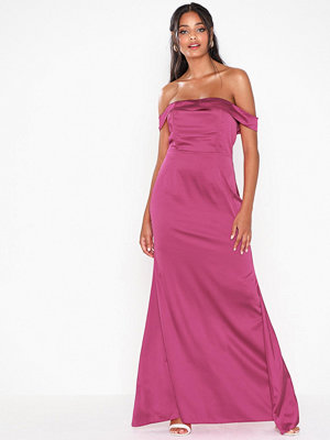 Missguided Satin Bardot Maxi Dress