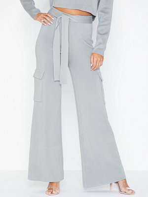 Missguided ljusgrå byxor Side Pocket Wide Leg Trousers