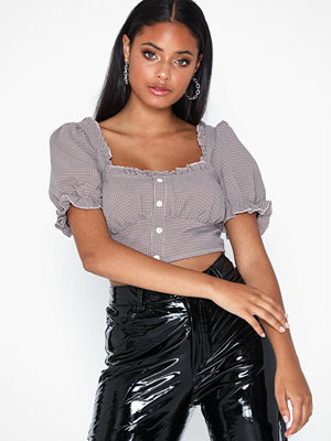 Missguided Herringbone Check Button Top