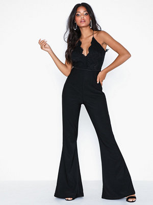 Jumpsuits & playsuits - Rare London Lace Top Flared Leg Jumpsuit