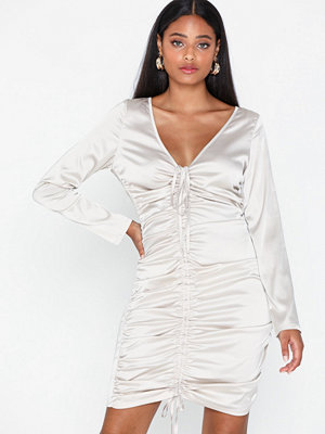 Missguided Satin Ruching Midi Dress