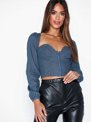 Missguided Denim Square Neck Crop Top