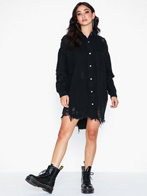 Missguided Super Hem Distress Denim Shirt Dress