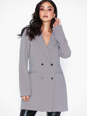 Missguided Herringbone Check Longline Blazer
