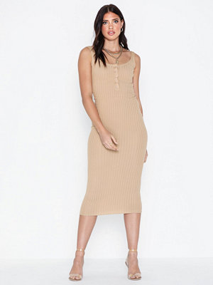 Missguided Popper Ribbed Midaxi Dress