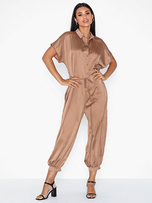 Ax Paris Short Sleeve Satin Jumpsuit