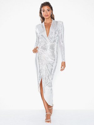 U Collection Shimmering V Neck Dress