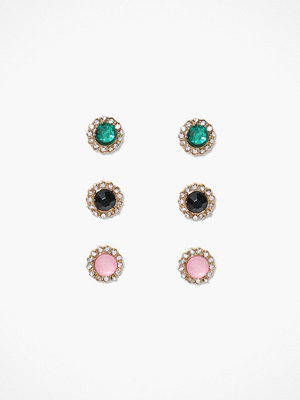 NLY Accessories örhängen 3 pack Crystal Studs