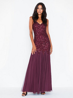 Maya All Over Sequin Godet Fishtail Cami Maxi Dress