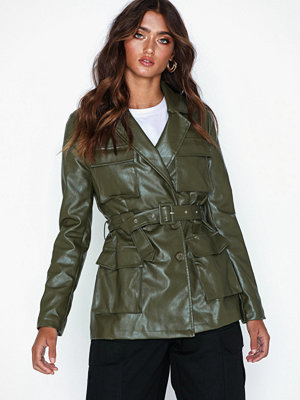 Missguided Co Ord Faux Leather Blazer