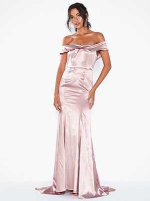 Dolly & Delicious Bardot Satin Maxi Dress with Train