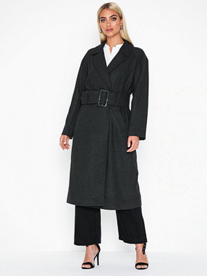 NLY Trend Long Belted Coat Grå