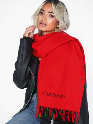 Calvin Klein Classic Wool Scarf W Röd